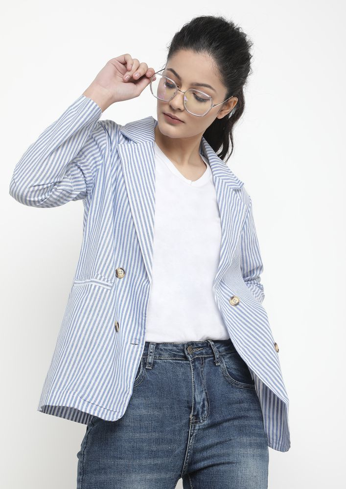ON MULTIPLE STRIPES BLUE BLAZER
