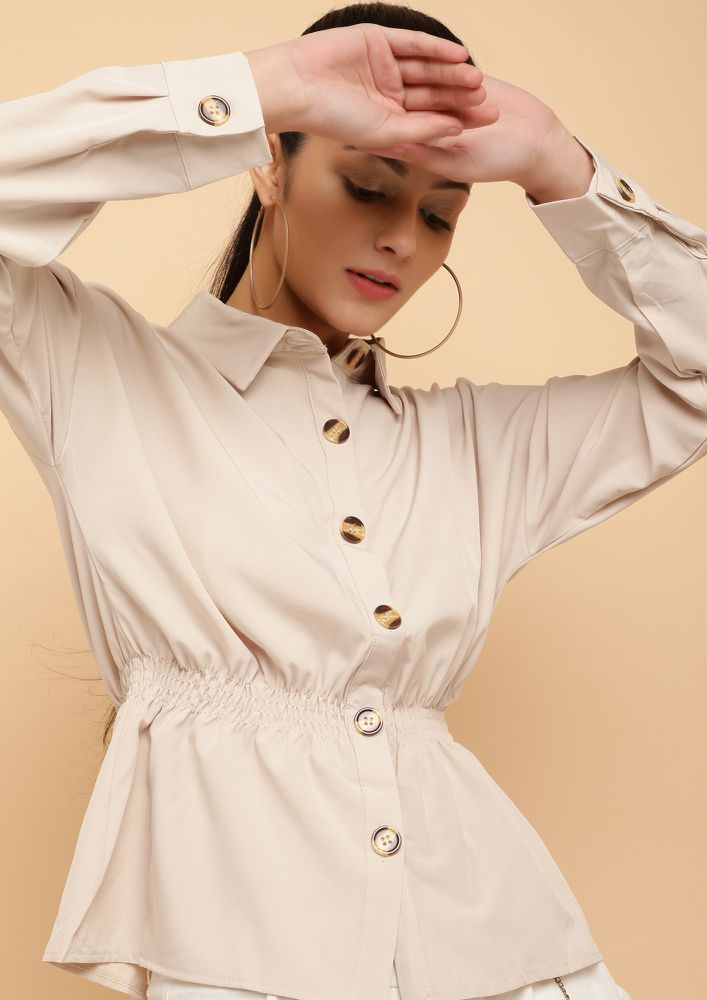 SMOCKING ROMANCE BEIGE SHIRT
