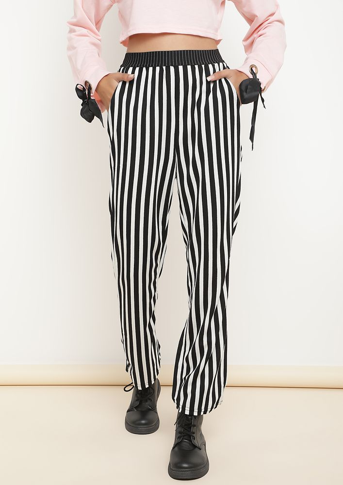 QUIRKY AND STRIPES BLACK TROUSERS