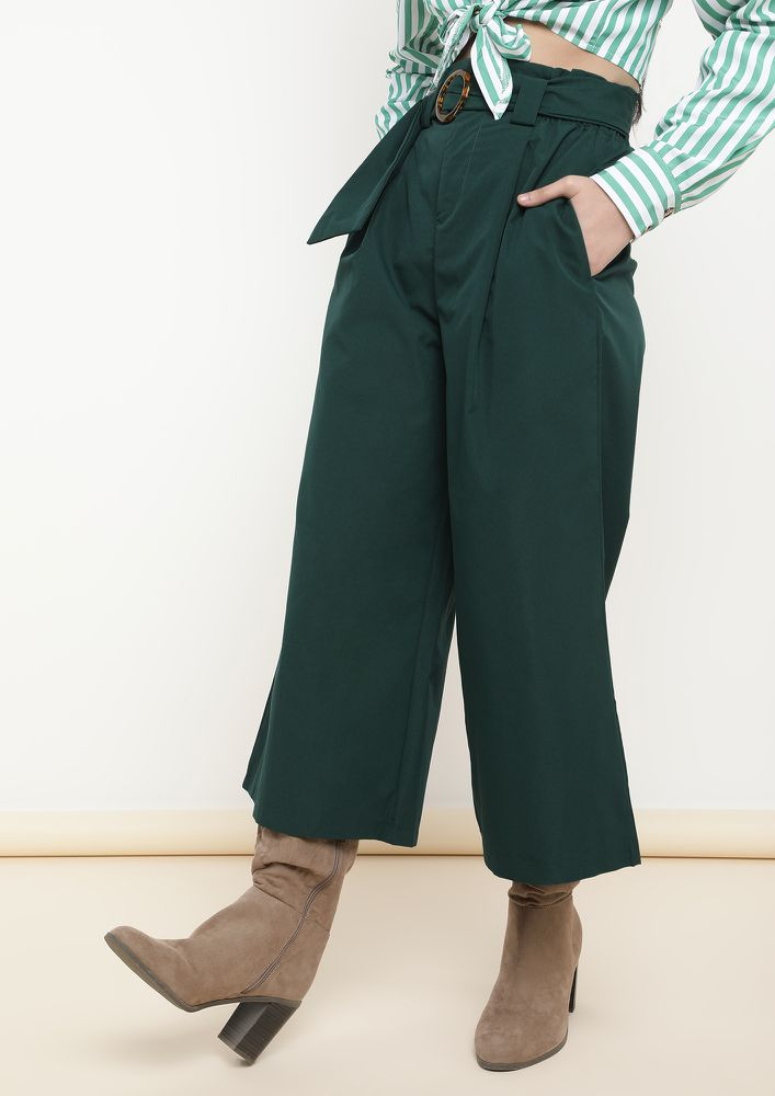 EFFORTLESS ELEGANCE GREEN WIDE LEG TROUSERS
