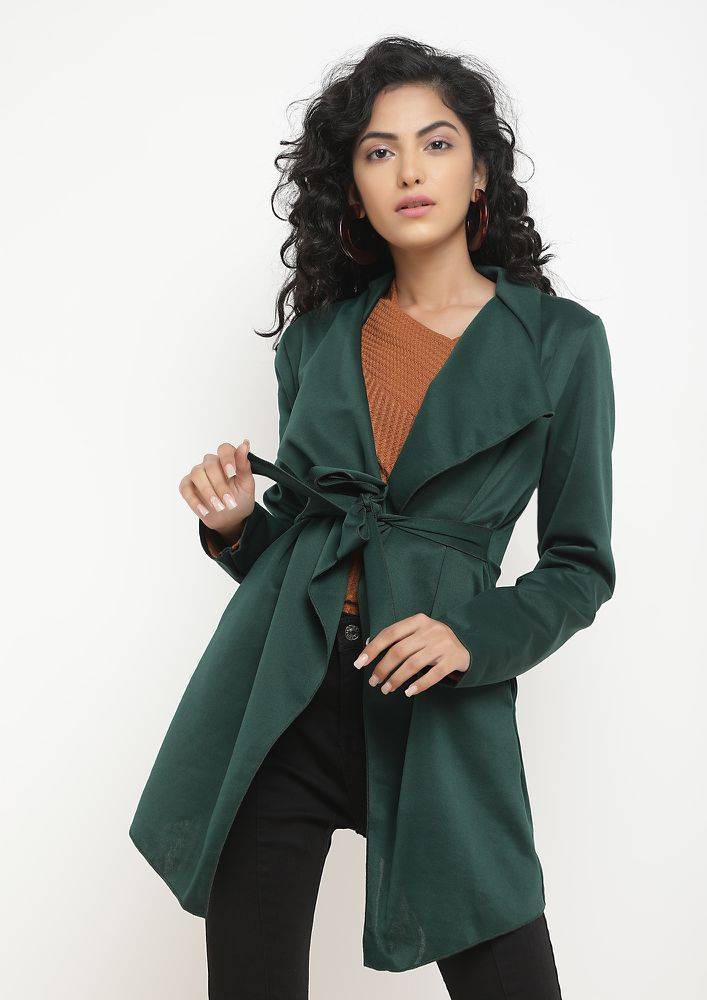 SERIOUS CHILLS TEAL GREEN WATERFALL SHRUG