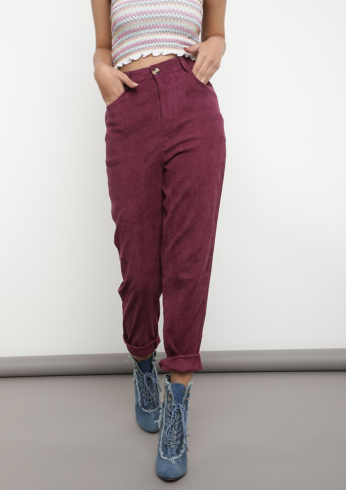 BLENDING SMART WITH CASUAL PURPLE TROUSERS