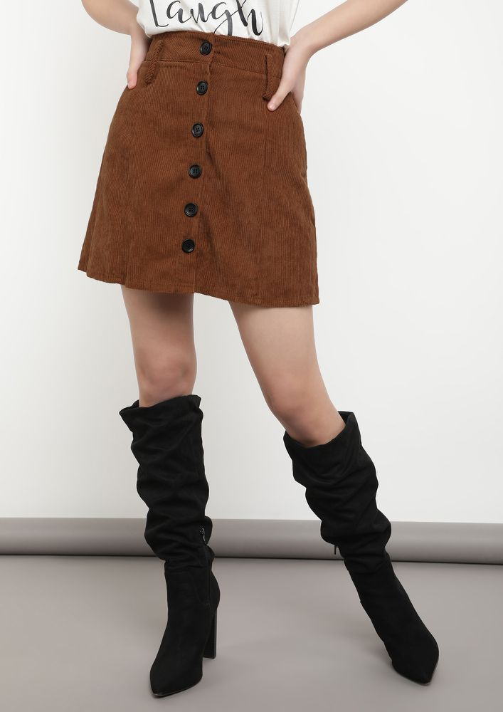 NO TIME TO REGRET BROWN A-LINE SKIRT