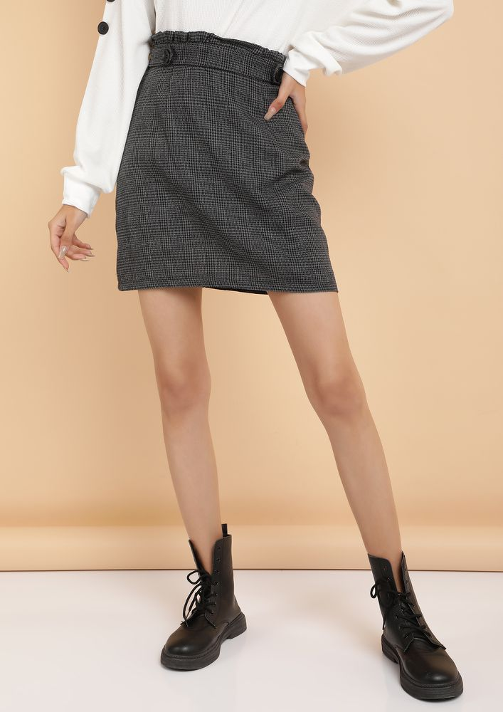 STREAMLINING LIFE BLACK PAPERBAG WAIST MINI SKIRT