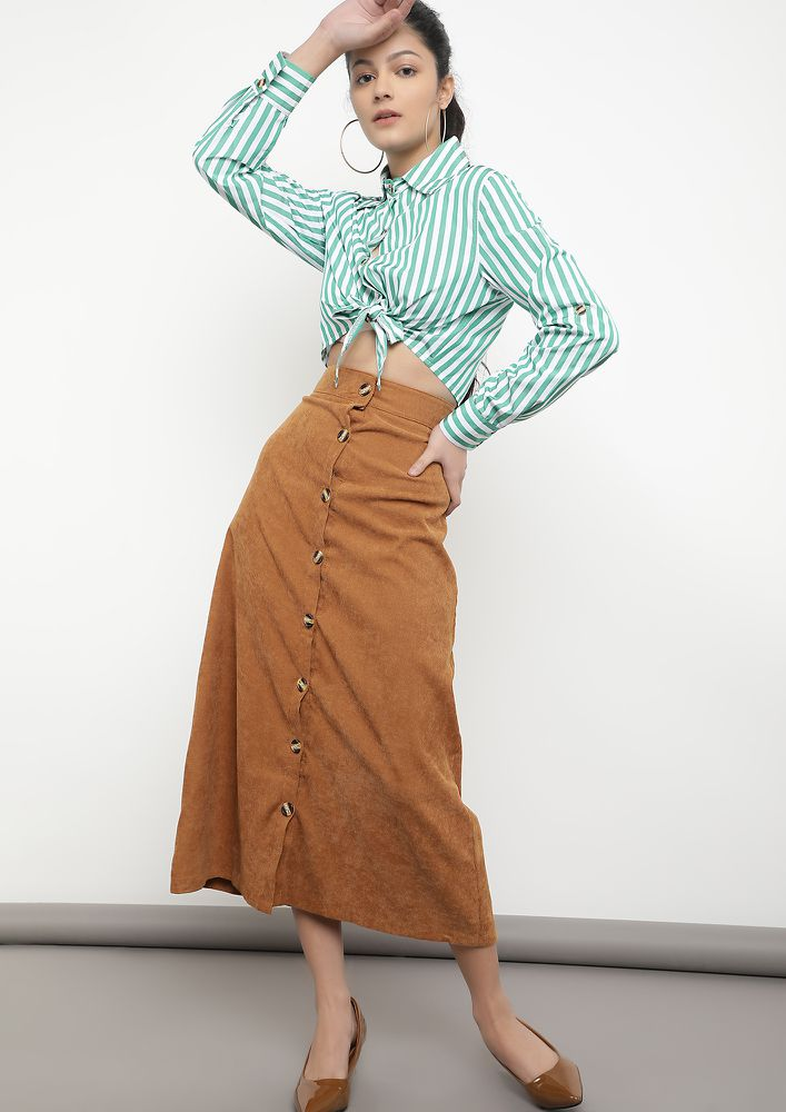 ON SUNNIER DAYS TAN MIDI SKIRT