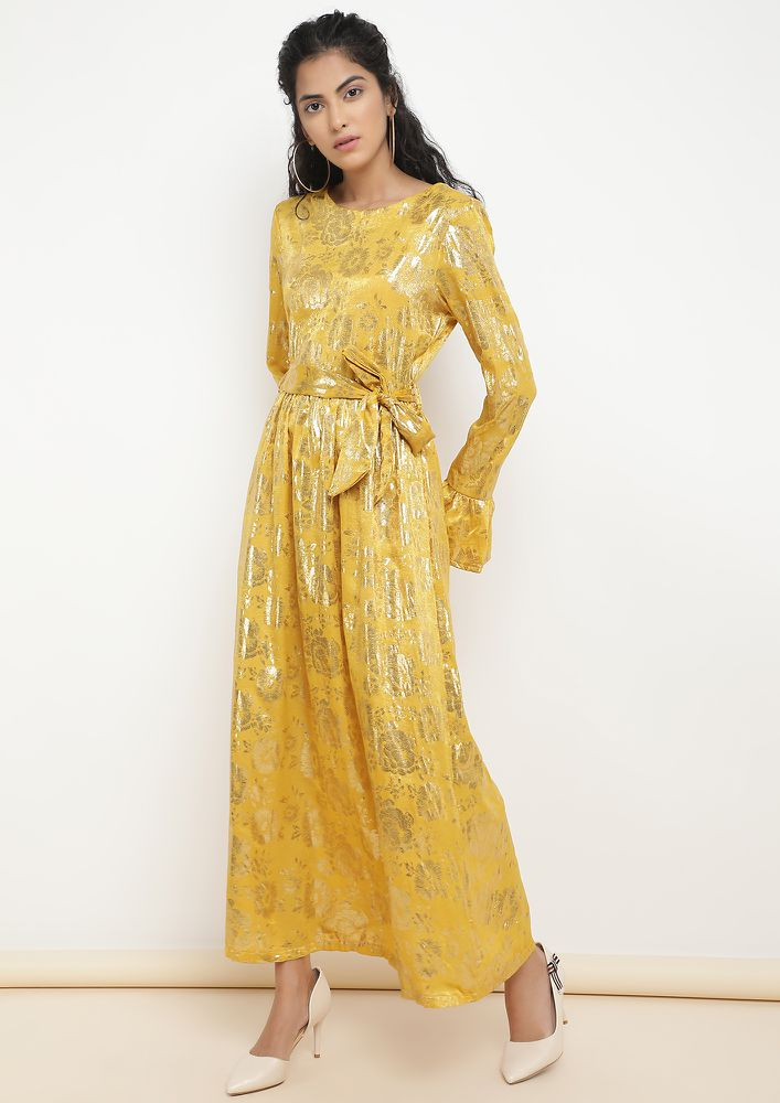 FLOWY AND SPARKLY YELLOW MAXI DRESS