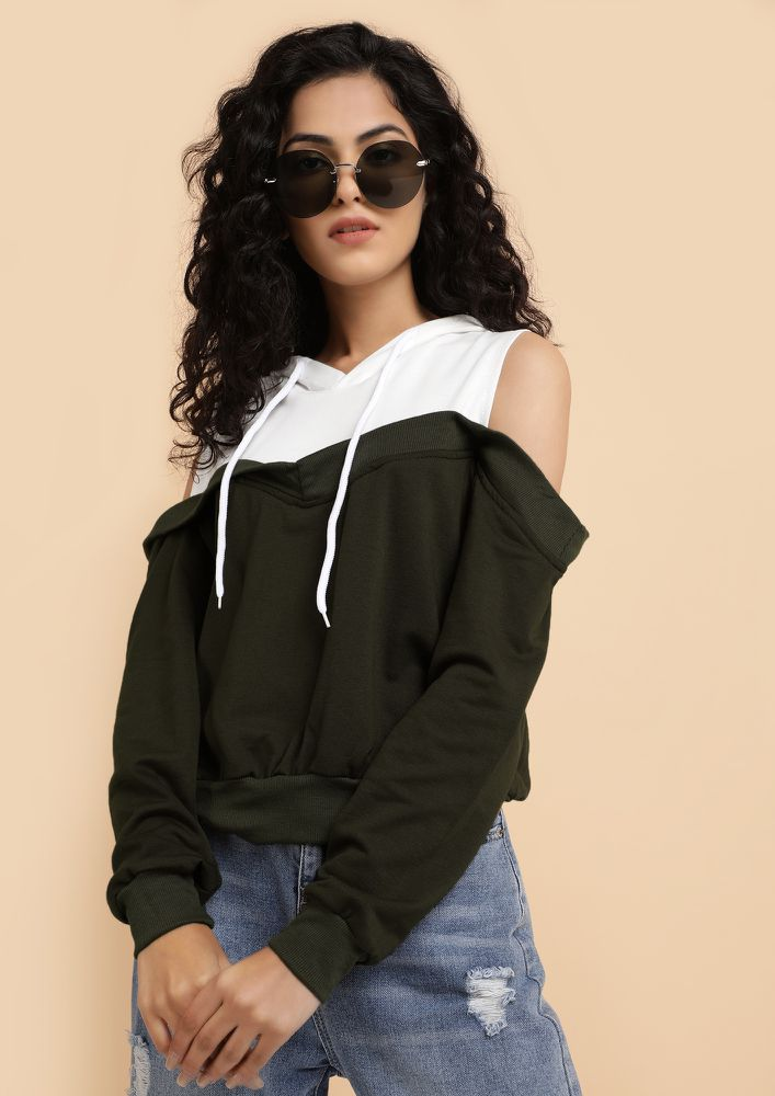DON'T COME HALF-HEARTEDLY ARMY GREEN SWEATSHIRT