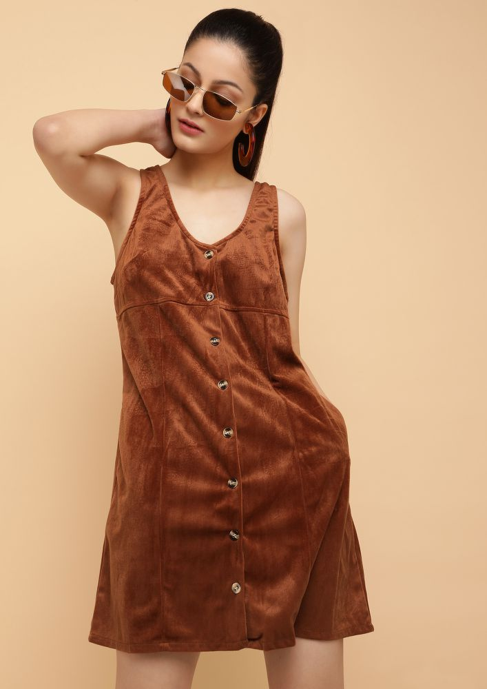 DONE WITH YOUR ATTITUDE BROWN SHIFT DRESS