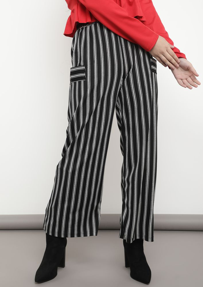 GONE FOR A STROLL BLACK STRIPED PALAZZOS