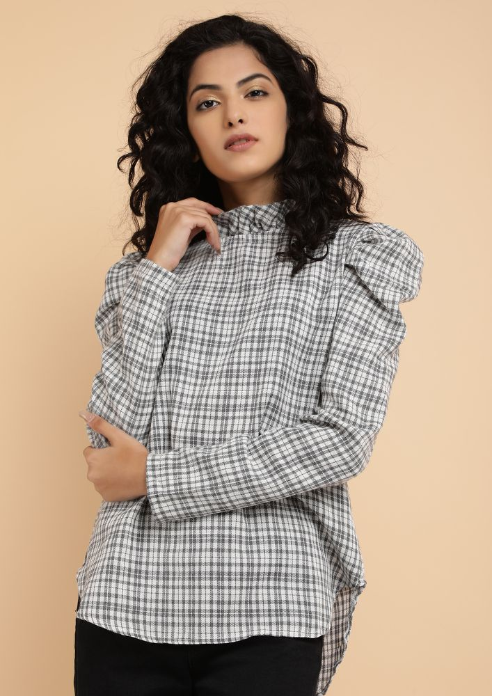 CLEVERLY PLAID GREY TARTAN BLOUSE