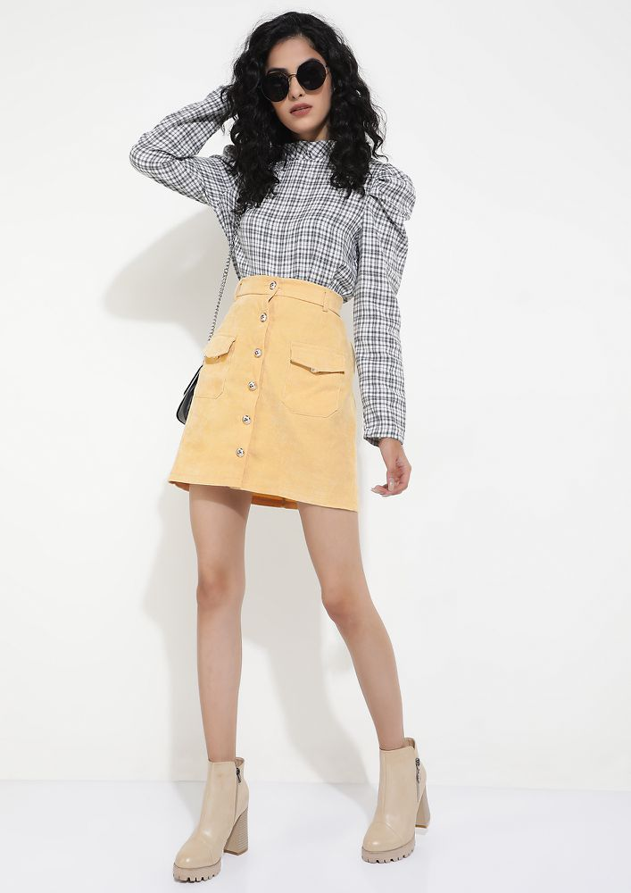 A DIFFERENT HEM GAME YELLOW A-LINE SKIRT