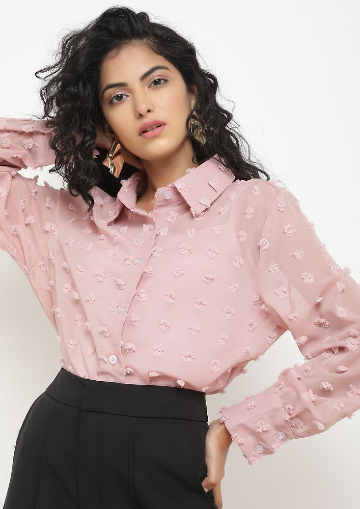 IN A SHEER ROMANCE PINK SHIRT