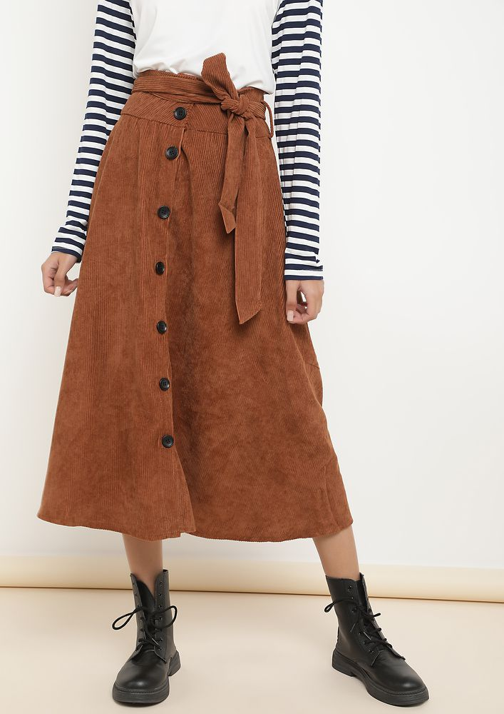 IN A SERIOUS BUSINESS BROWN MIDI SKIRT