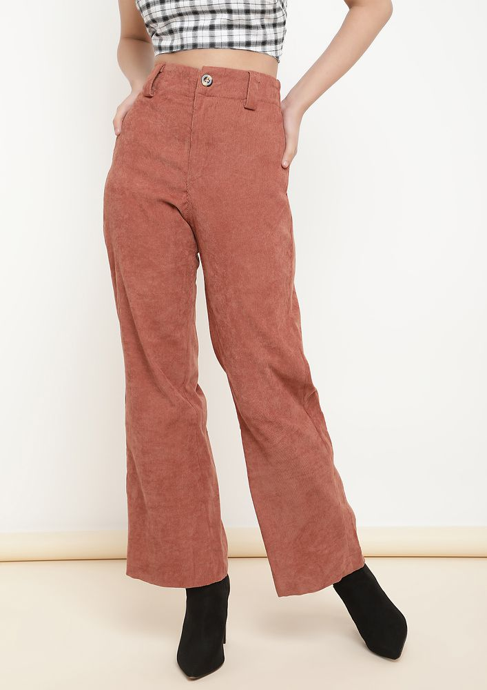 RIGHT ON THE CLOCK RUST CIGARETTE PANTS