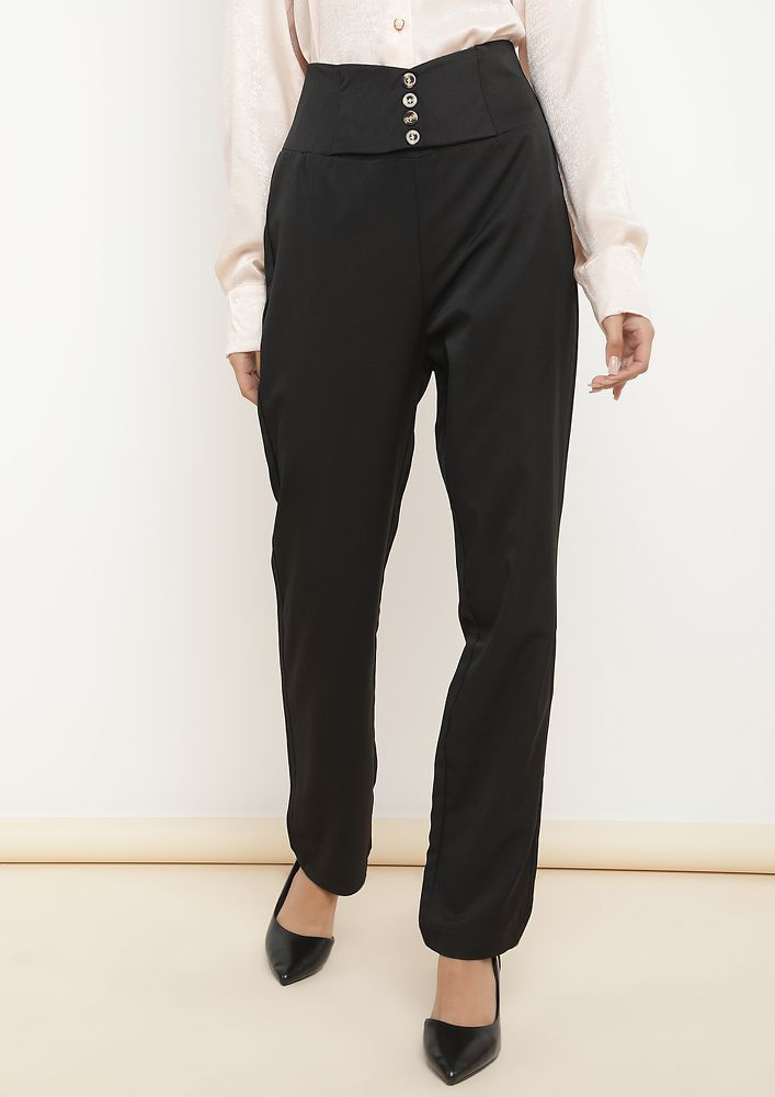 BUSY HOUR WOES BLACK PEG LEG TROUSERS