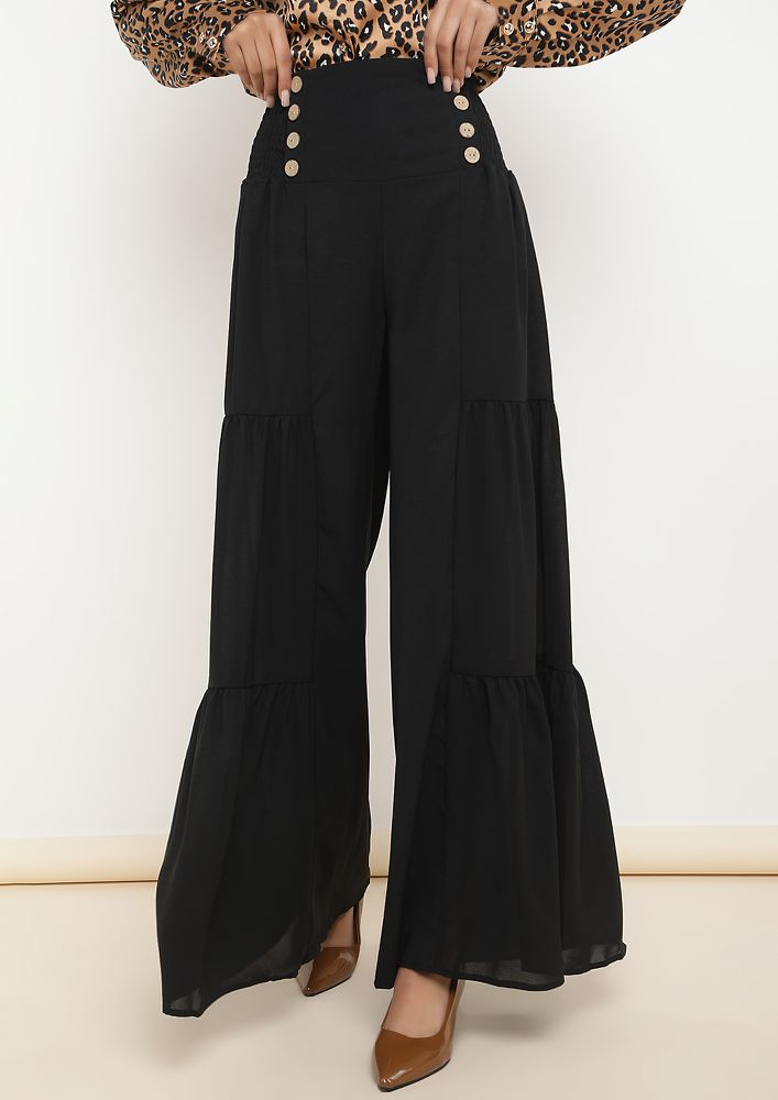 THE DRAMATIC GROOVES BLACK PALAZZOS