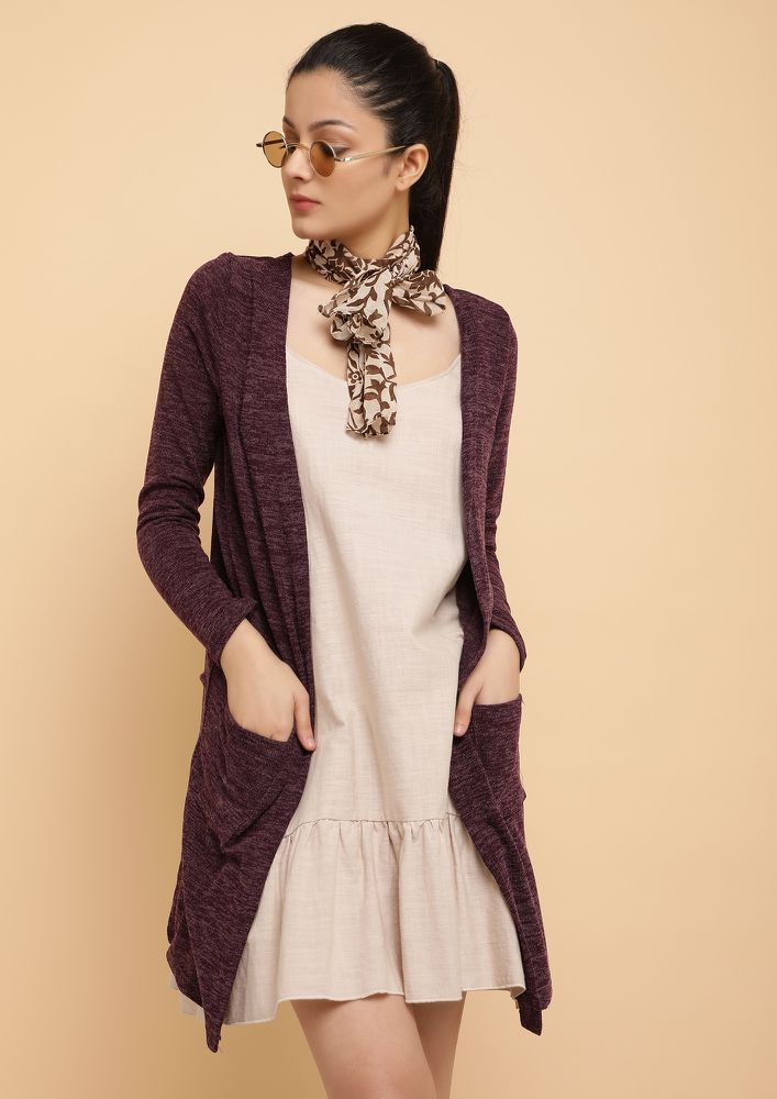 TAKE IT LIGHT PURPLE KNITTED SHRUG