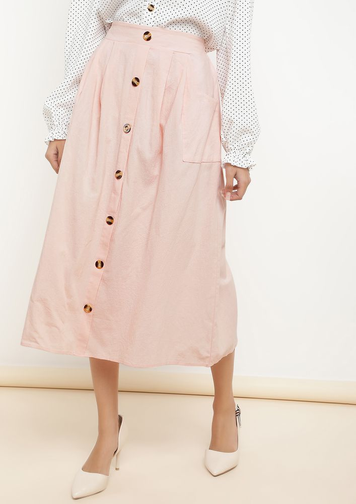 BACK TO DESK POWDER PINK MIDI SKIRT