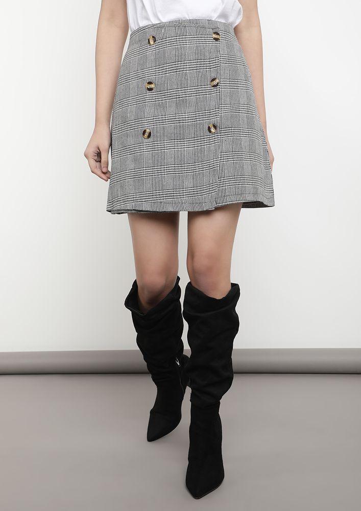 PLAYING IT REAL SMART GREY MINI SKIRT