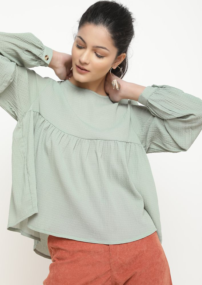 TURNING MY BACK MINT GREEN BLOUSE