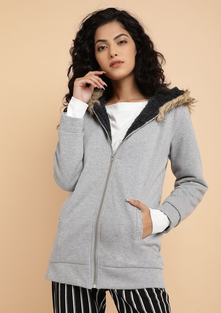 MY WFH WARDROBE GREY HOODED JACKET