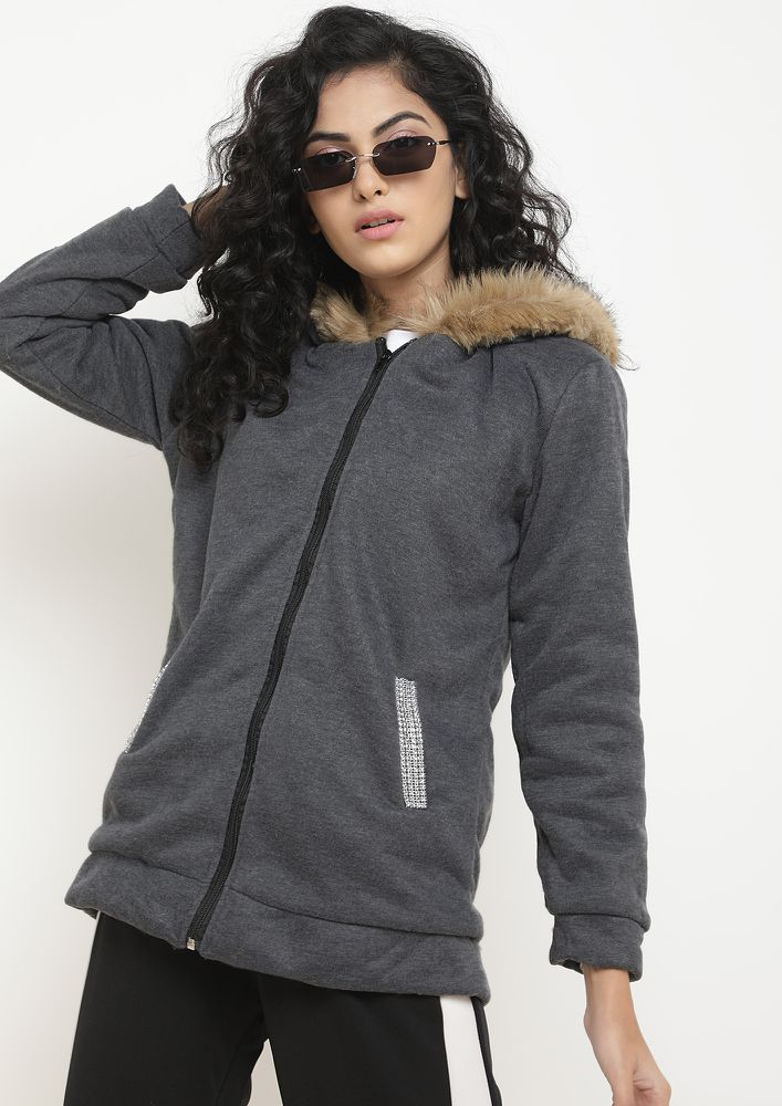 MY WFH WARDROBE DARK GREY HOODED JACKET