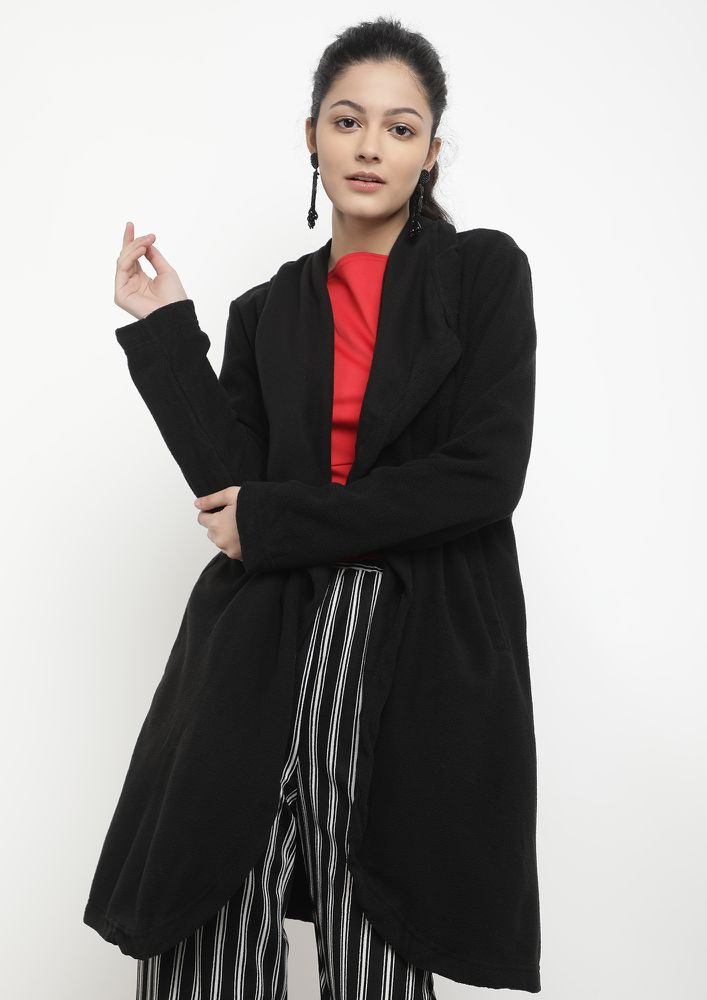 WINTER RULES BLACK WRAP-OVER COAT
