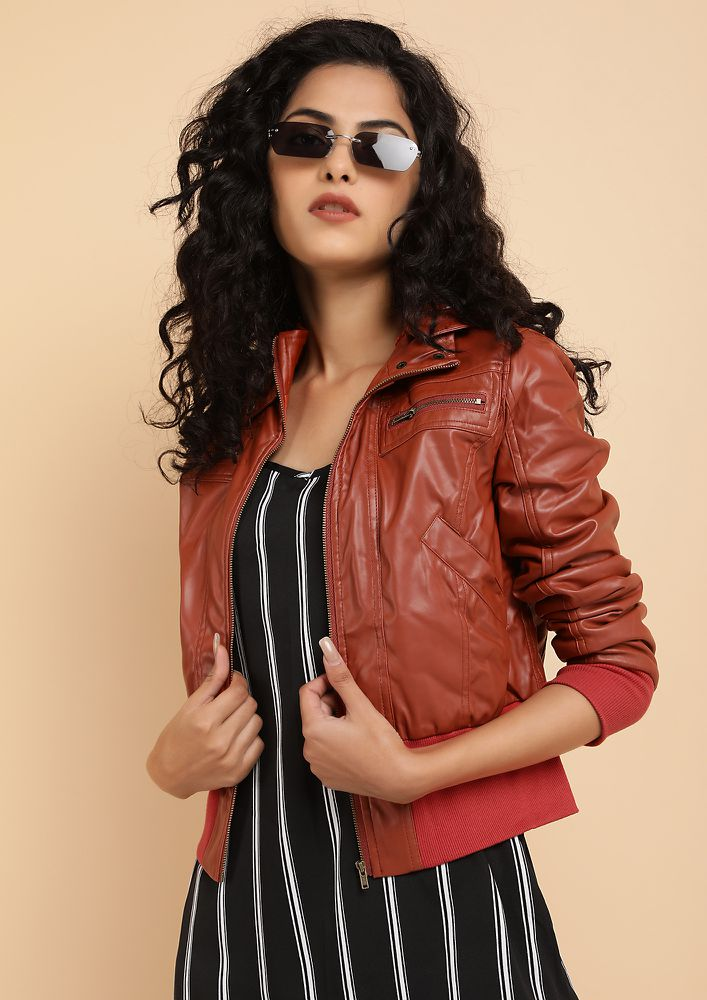 DREAM RACE TAN BIKER JACKET