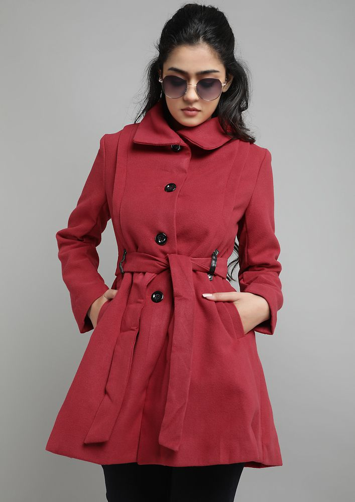 LOCK IN THE WARMTH RED OVERCOAT
