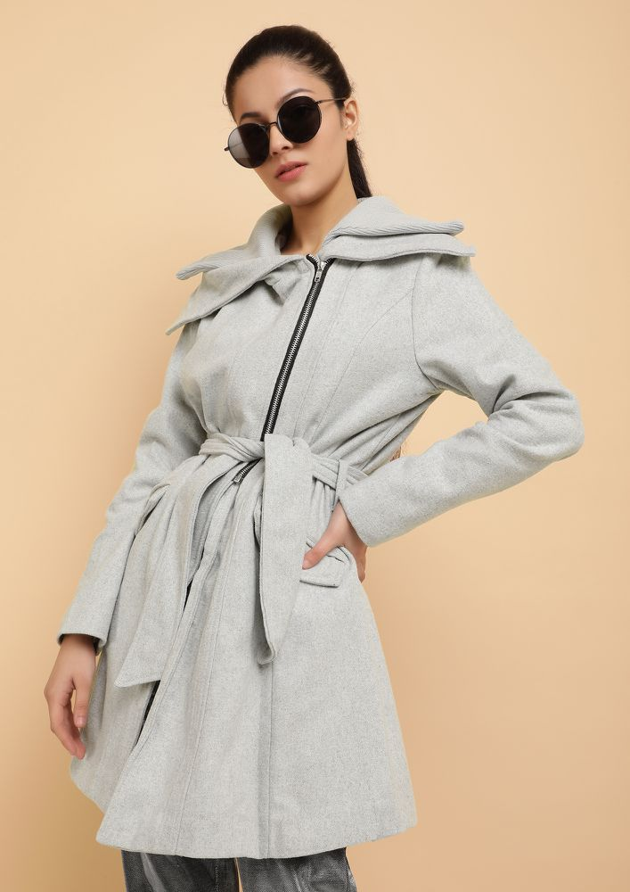 SUCH WARMTH MUCH NEEDED GREY OVERCOAT