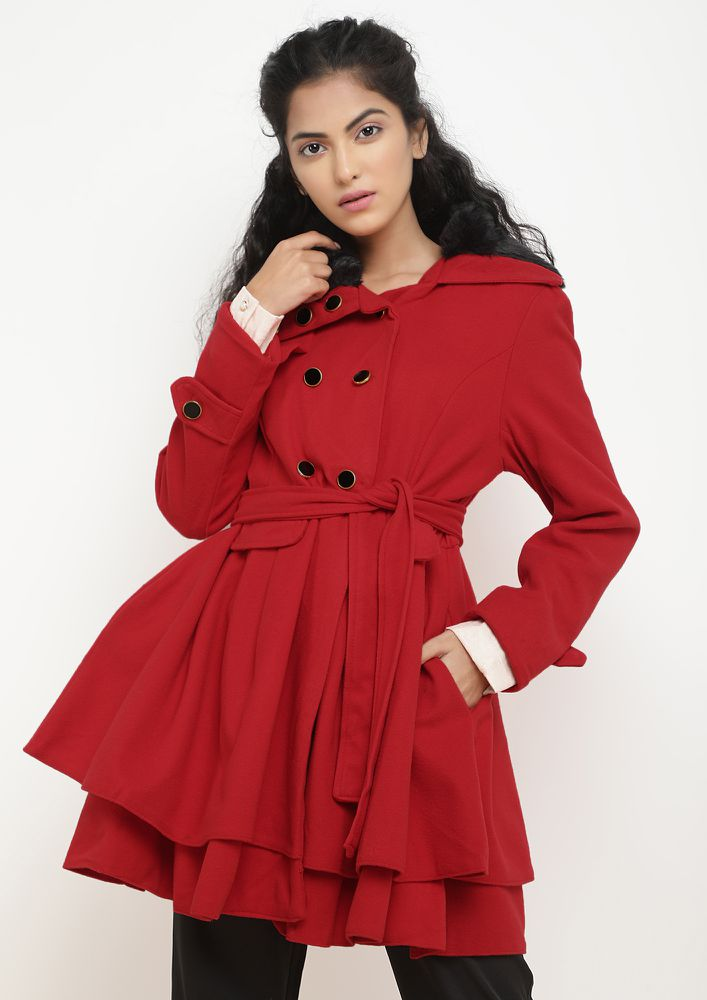 THE WINTER WORTHY RED SKATER COAT DRESS