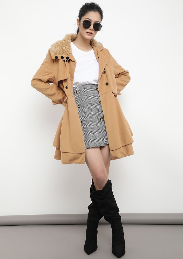THE WINTER WORTHY TAN SKATER COAT DRESS