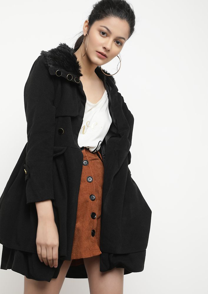 THE WINTER WORTHY BLACK SKATER COAT DRESS
