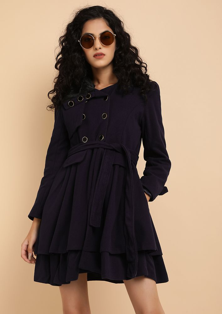 THE WINTER WORTHY NAVY BLUE SKATER COAT DRESS
