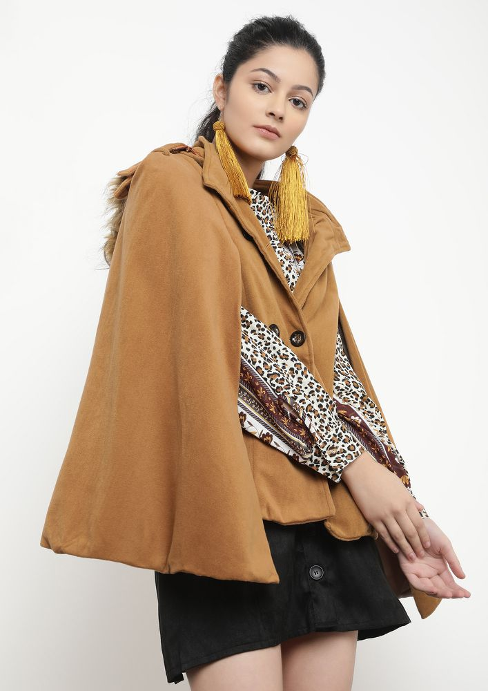 SUPER LADY TAN DOUBLE-BREASTED CAPE COAT
