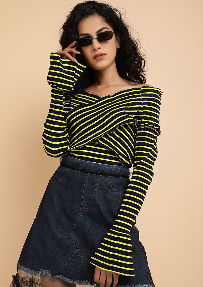 PLAYING COY NAVY OFF-SHOULDER TOP