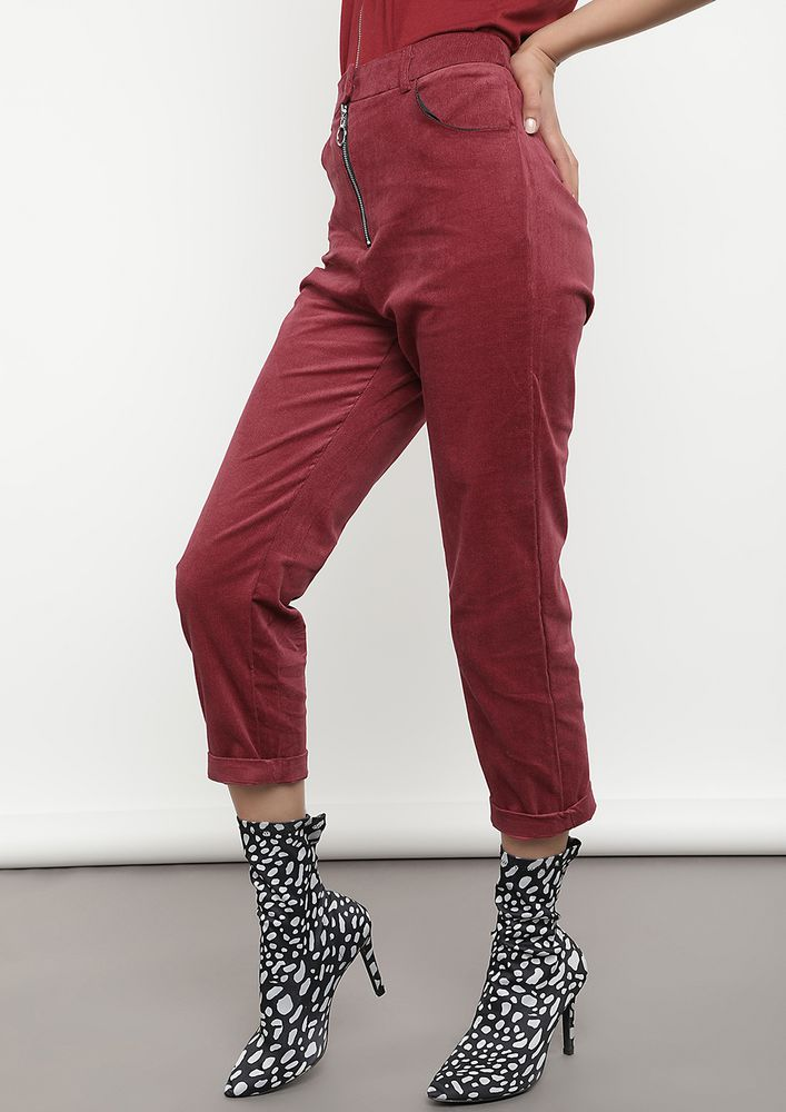 LOOSE YOURSELF TO DANCE WINE RED TROUSERS
