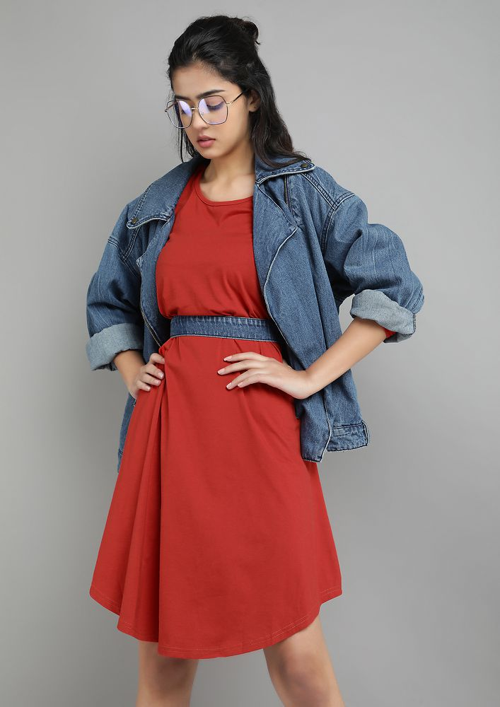 MY BAE-SIC RED MIDI DRESS