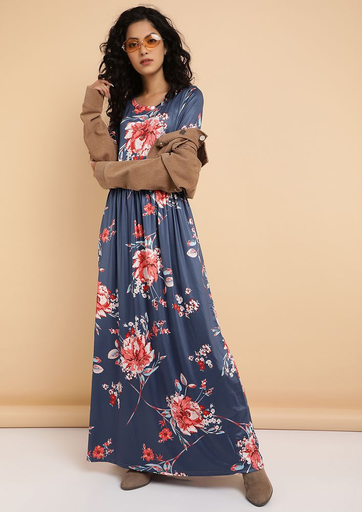 ALL MY ROSES BLUE MAXI DRESS