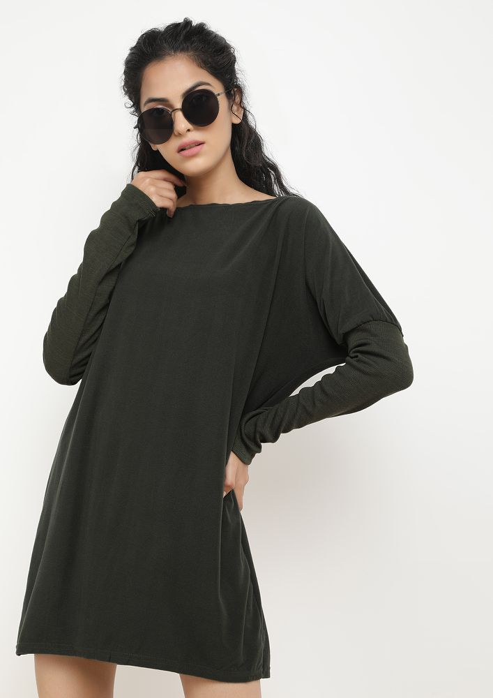 BATWING CLASSIC ARMY GREEN SHIFT DRESS