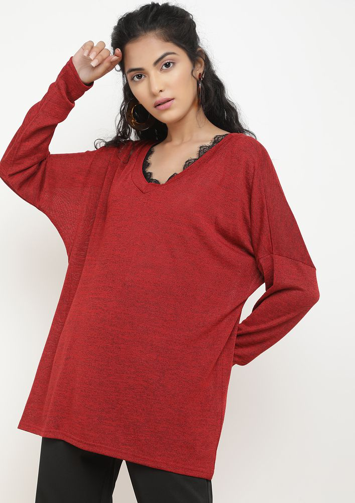 CALL FOR A KNIT RED TUNIC TOP