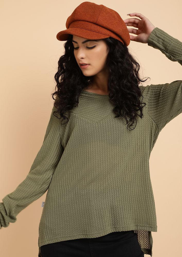 IN THIN AIR OLIVE KNITTED TOP