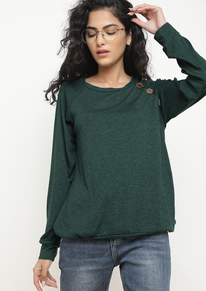 IN BETWEEN COLD GREEN SWEATSHIRT