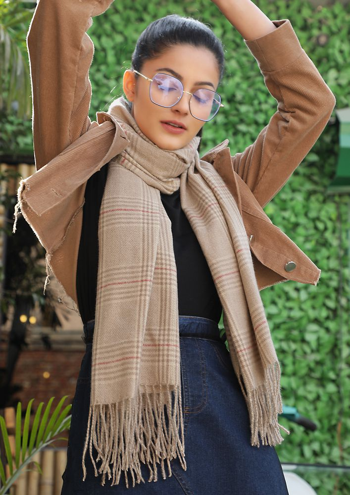 ALL OUT IN COLD TAN BLANKET SCARF