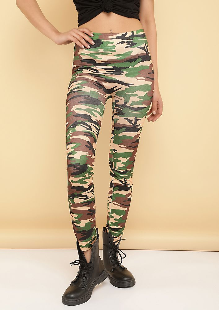ARMY BRAT GREEN LEGGING
