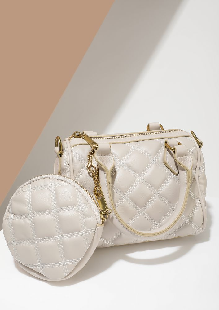 QUILT LIKE A QUEEN BEIGE HANDBAG
