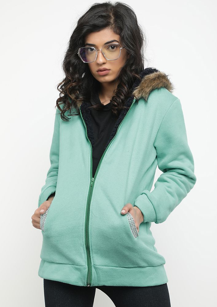 My Wfh Wardrobe Turquoise Hooded Jacket