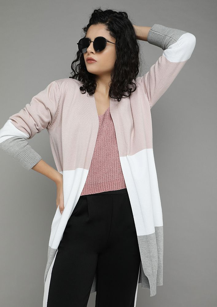 OPEN ENDINGS POWDER PINK CARDIGAN