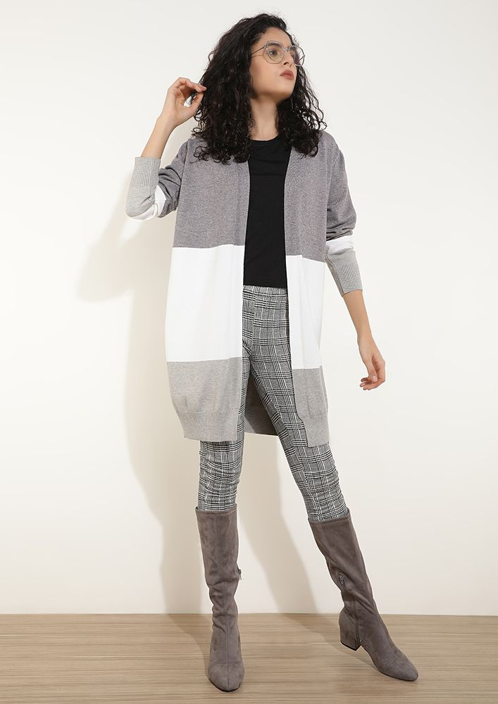 OPEN ENDINGS GREY CARDIGAN