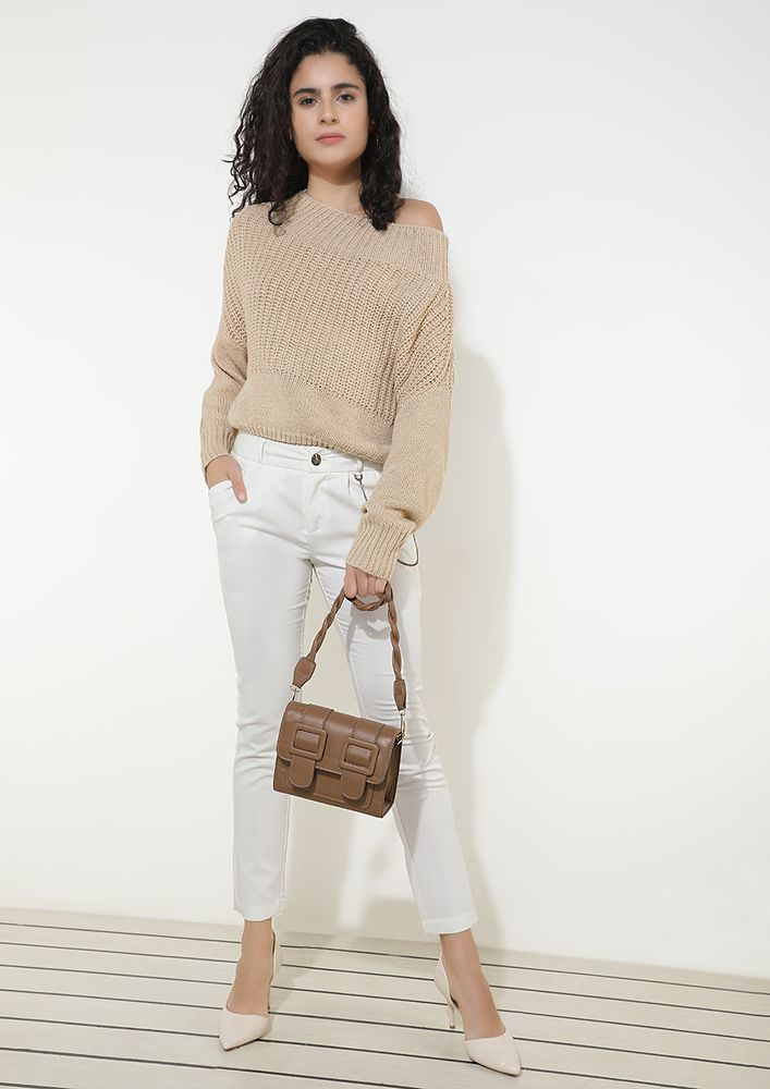 BEFORE IT'S WINDY KHAKI CROPPED JUMPER